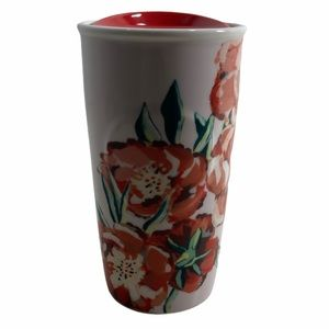 Starbucks 2015 Floral Red Flowers Ceramic Tumbler